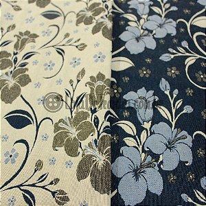 Jacquard Estampado Floral Azul Dupla Face 1,40m de Largura