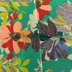 Crepe Salina Estampado Floral Verde 1,50m de Largura
