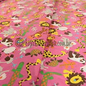 Tricoline Estampado Animais Selva Rosa