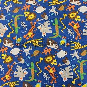 Tricoline Estampado Animais Selva Azul