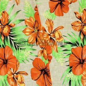 Viscolycra Estampada Floral Laranja 1,65m Largura
