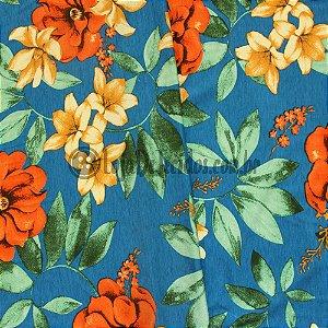 Viscolycra Estampada Floral Alaranjado 1,65m Largura