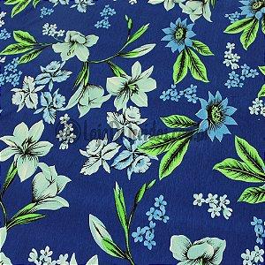 Viscolycra Estampada Floral Verde 1,65m Largura
