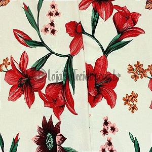 Viscolycra Estampada Floral Vermelho 1,65m Largura