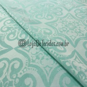 Jacquard Estampado Arabesco Verde Tiffany 2,80mt de Largura
