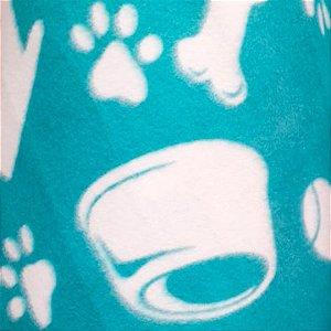 Soft Estampado pet branco com fundo jade 1,60m de Largura