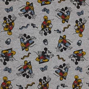 Malha 100% Algodão Cardada Fundo Mescla Tema Mickey