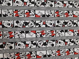 Malha 100% Algodão Cardada Tema Mickey e Minnie