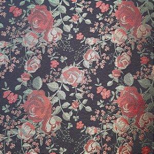 Jacquard Gobelem Florido Rosas Vermelhas 2,80mt de Largura