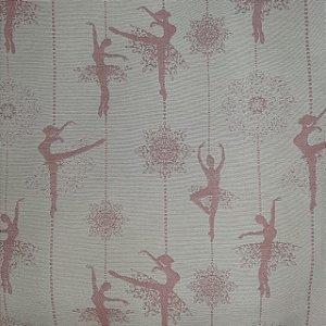 Jacquard Especial Bailarina Rosa e Branco 2,80mt de Largura