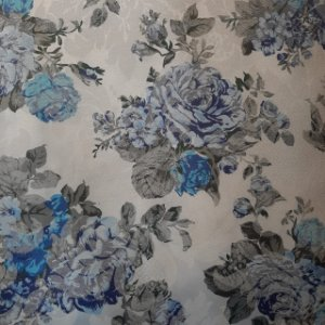 Jacquard Especial Floral Azul Fundo Branco 2,80mt de Largura