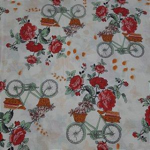 Tricoline Estampado Floral Vermelho e BIcicletas