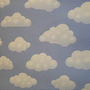 Jacquard Estampado Nuvens Fundo Azul 2,80mt de Largura