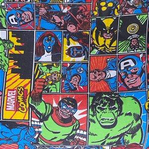 Malha 100% Algodão Cardada Tema Heróis da Marvel