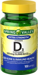 Spring Valley Vitamin D3 Softgels, 5000 UI, 100 Cápsulas