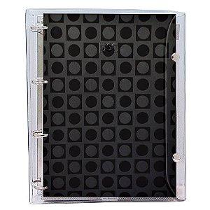Fichário Universitário em PVC Cristal Transparente DAC Basic Preto com 192 folhas - 2394