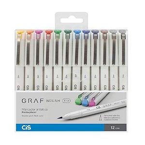 Canetas Artísticas Graf Brush Fine CiS com 12 cores - 59.9600