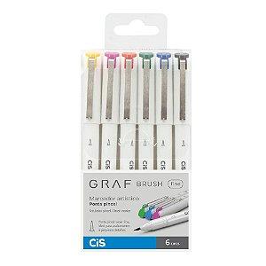 Canetas Artísticas Graf Brush Fine CiS com 6 cores - 59.9500