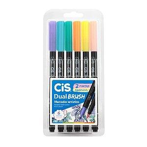 Dual Brush Pen Pastel Aquarelável CiS com 6 cores - 58.0100