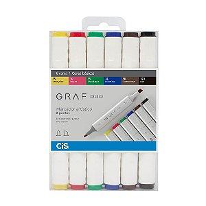 Marcador Graf Duo CiS com 6 cores Básicas - 59.7400