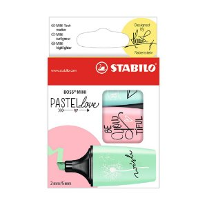 Kit Marca Texto Pastel Love Stabilo Mini Boss com 3 cores  - 55.3100