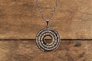 COLARES - Colar Medalha Salmo 23 Folheado em Ouro Branco