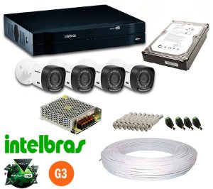 KIT CFTV MULTIHD 4CH + 4 CAM INTELBRAS 720P HD 500GB
