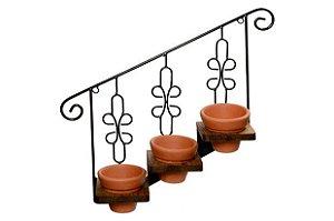 Suporte Escada com 3 Vasos Cinza