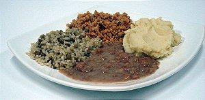 Carne de Soja ao Sugo, Arroz Integral com Lentilha e Purê de batatas (2 porções) - Liofoods
