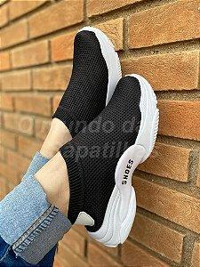 Tênis Meia Shoes Preto Geométrico