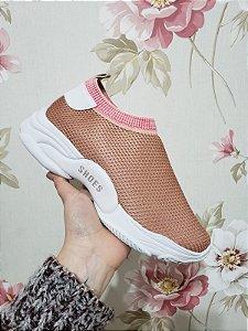 Tênis Meia Shoes Nude Geométrico