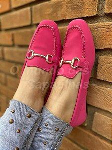 Mocassim Quadrado Fivela Pink