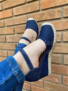 Anabela Jeans Escura Juta