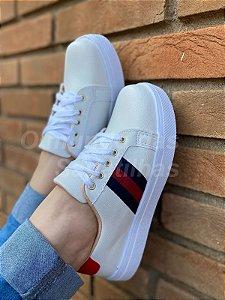 Slip On Listras Colors Branco