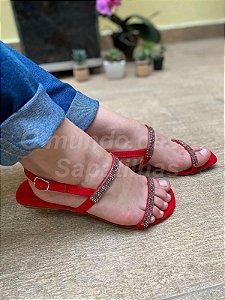Sandália Búzios Vermelha Strass