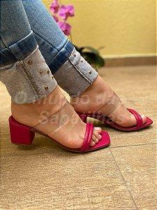 Sandália Salto Bloco Vinil Pink
