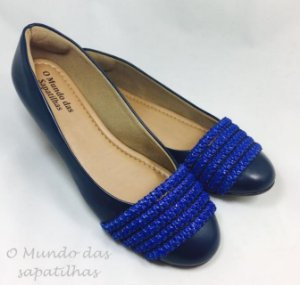 Sapatilha Azul Marinho Faixa Trançada