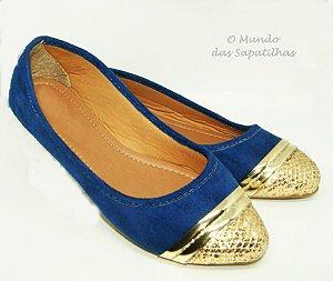 Sapatilha azul Ponteira Dourada
