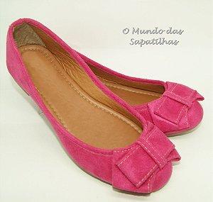 Sapatilha Camurça Laço Pink