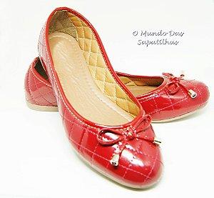 Sapatilha Vermelha Redonda Matelassê