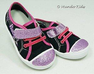 Tênis Infantil Preto Pink Glitter