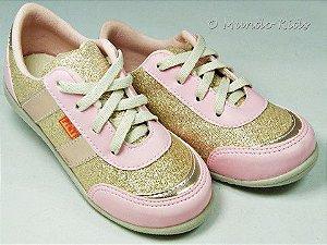 Tênis Infantil Rosa Dourado Glitter