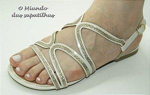 Sandália Fio Dourado Branco Neve