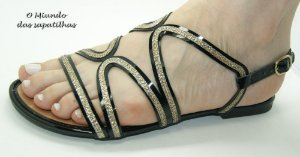 Sandália Fio dourado Preta