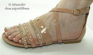 Sandália Gladiadora Bege