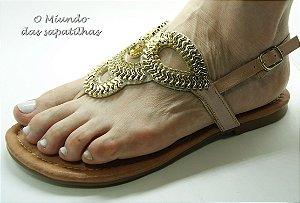 Sandália Fofiori Dourada Com Pedra