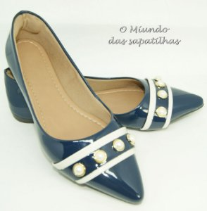 Sapatilha Azul Verniz Pérolas