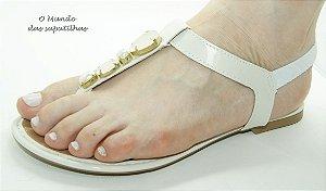Sandália Rasteira Branca Pedras