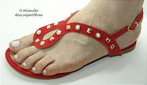 Sandália Rasteira Vermelha Spike