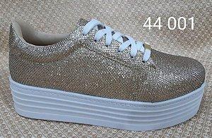 Tênis Plataforma Gliter ouro Ref 44001
